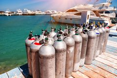 Diving equipment on the wooden pier Royalty Free Stock Images