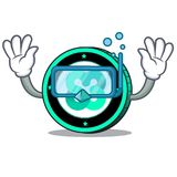 Diving Ethos coin character cartoon. Vector illustration Royalty Free Stock Images