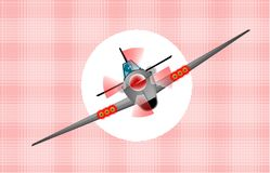 Diving Fighter Plane. A fighter plane diving `out of the sun` Over an abstract pink background Stock Photography