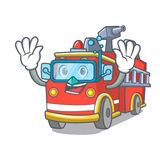 Diving fire truck character cartoon. Vector illustration Royalty Free Stock Photos