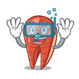 Diving fish slice character cartoon. Vector illustration Royalty Free Stock Photography