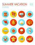 Diving flat icon set. Summer. Vacation Stock Images