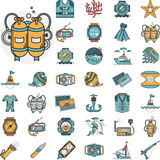 Diving flat icons collection Stock Photography