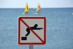 Diving forbidden Royalty Free Stock Photography