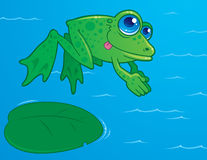 Diving Frog. Vector drawing of a cute frog diving off of a lily pad into water. Drawn in a humorous cartoon style stock illustration