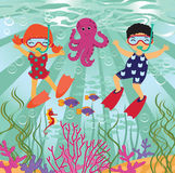 Diving fun. A vector illustration of happy kids diving in the sea Royalty Free Stock Photography