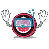Diving FunFair coin character cartoon. Vector illustration Stock Photography