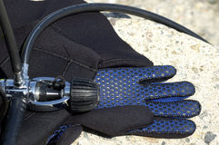 Diving gear. Scuba diving gear, regulator and glove Royalty Free Stock Photos