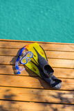 Diving gear at the ocean Stock Images