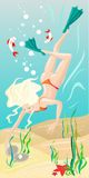 Diving girl. Girl that has found a beatiful pearl while she was diving in the sea Royalty Free Illustration