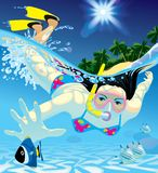 Diving girl. Raster version of vector image of young women catching a fish with a snorkel and a diving mask at snorkeling in the Sea Stock Photo