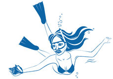 Diving girl with mask Royalty Free Stock Photos