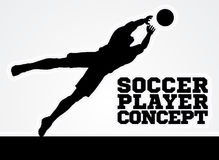 Diving Goal Keeper Silhouette Soccer Player Royalty Free Stock Photography