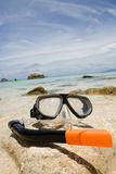 Diving goggles. Gorgeous beach on the island of Koh Tao in Thailand  with diving goggles Royalty Free Stock Photography