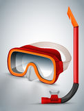 Diving goggles diving mask red Stock Photography