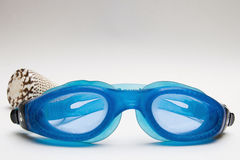 Diving goggles and shell. Diving goggles, sea shell to the bottom Stock Photos