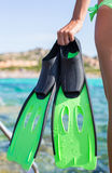 Diving goggles, snorkel and snorkeling fins at Royalty Free Stock Images