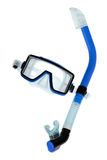 Diving goggles with snorkel on white. Clean studio shot of blue diving goggles with snorkel on white background royalty free stock photography