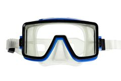 Diving goggles on white. Isolated diver eyeglasses with blue and black frame royalty free stock photography