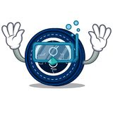 Diving golem coin character cartoon. Vector illustration Royalty Free Stock Photography