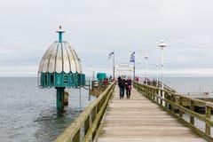 Diving gondola at the Zinnowitz Pier, Zinnowitz, Usedom, Germany. Zinnowitz, Germany - October 24, 2017: diving gondola at the Zinnowitz Pier with unidentified Royalty Free Stock Images