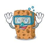 Diving granola bar character cartoon Stock Illustration