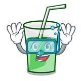 Diving green smoothie character cartoon. Vector illustration stock illustration