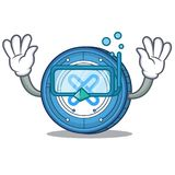 Diving Gxshares coin character cartoon. Vector illustration Royalty Free Stock Photo