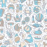 Diving hand draw cartoon seamless pattern. Diving and water sport and adventure repeatable background with diving and. Scuba equipment, sea life, animals and Stock Photos