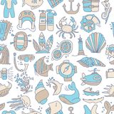 Diving hand draw cartoon seamless pattern. Diving and water sport and adventure repeatable background with diving and. Scuba equipment, sea life, animals and Royalty Free Stock Image