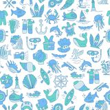 Diving hand draw cartoon seamless pattern. Diving and water sport and adventure repeatable background with diving and. Scuba equipment, sea life, animals and Royalty Free Stock Photos