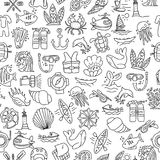 Diving hand draw cartoon seamless pattern. Diving and water sport and adventure repeatable background with diving and. Scuba equipment, sea life, animals and Royalty Free Stock Photo
