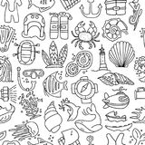 Diving hand draw cartoon seamless pattern. Diving and water sport and adventure repeatable background with diving and. Scuba equipment, sea life, animals and Stock Photography