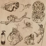 DIVING - An hand drawn vector collection, Divers. Freehand drawi. An hand drawn collection, vector pack - DIVING. Outdoor and underwater activities, Divers Royalty Free Stock Photo