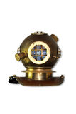 Diving helmet. Old fashion brass diving helmet  on white. Clipping path included Royalty Free Stock Photo