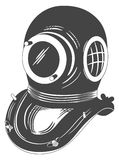 Diving helmet. Retro style grayscale diving helmet Royalty Free Stock Photography