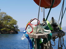 Diving Holiday. Snorkelling equipment on a boat trip on the Turkish Coast Stock Image