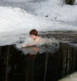 Diving in an ice-hole Royalty Free Stock Photos