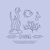 Diving icon with fishs and seaweed Stock Image