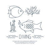 Diving icon with fishs and seaweed Royalty Free Stock Photography