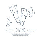 Diving icon with flippers and bubbles royalty free illustration