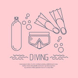 Diving icon with flippers and other equipment Stock Photography