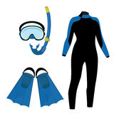 Diving icon set. Diving equipment  icon set with blue diving mask and snorkel or scuba, flippers and diving suit. Diving costume Stock Photography