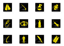 Diving icon set Royalty Free Stock Images