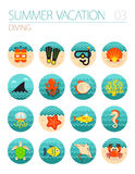 Diving icon set. Summer. Vacation Stock Images