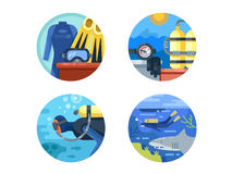Diving icon set Stock Photography