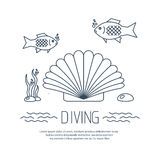 Diving icon with shell and fishs Royalty Free Stock Photo