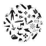 Diving icons. Black and white diving icons Royalty Free Stock Images