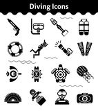 Diving Icons Black. Set with diver underwater gun flipper isolated vector illustration Stock Photo