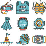 Diving icons flat design collection Stock Photo